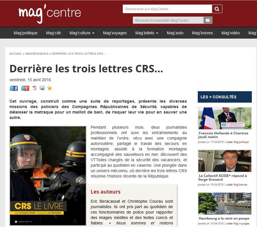 CRS-Le-Livre CRS 51, CRS Mag Centre, revue de presse CRS, www.crs-le-livre.com
